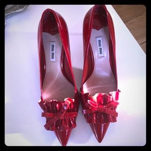 Mui Miu Red Kitten Heels